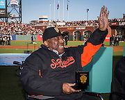 SAN FRANCISCO, CA - APRIL 18: Baseball Hall of Fame's, Willie McCovey, acknowledges the crowd upon receiving his San Francisco Giants 2014 World Series ring during the San Francisco Giants World Series ring ceremony at AT&T Park on Saturday, April 18 2015 in San Francisco, California. Photo by Jean Fruth