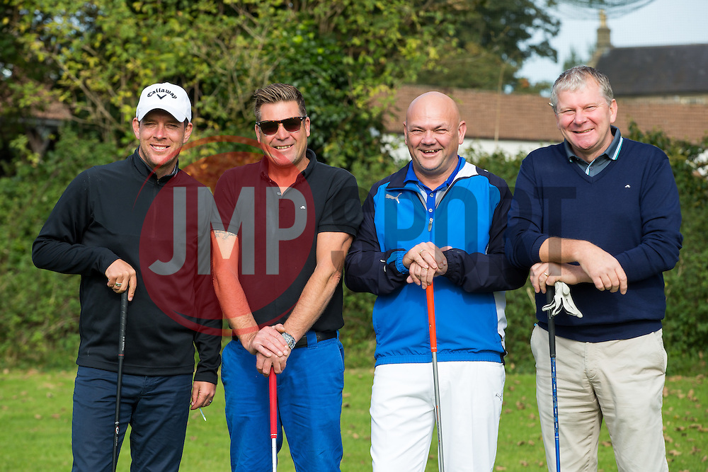 Manager Darrell Clarke of Bristol Rovers joins team You'llnevergetridofthegas as they take part in the annual Bristol Rovers Golf Day - Rogan Thomson/JMP - 10/10/2016 - GOLF - Farrington Park - Bristol, England - Bristol Rovers Golf Day.