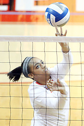 23 October 2015:  Jordan Weatherless(11) soft touches the ball over the net during an NCAA women's volleyball match between the Wichita State Shockers and the Illinois State Redbirds at Redbird Arena in Normal IL (Photo by Alan Look)