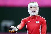 Olympic Games London 2012, Hocky women, National Team South Korea.Seon Mi Park / KOR, mask, Maske, Schutzkleidung.© pixathlon