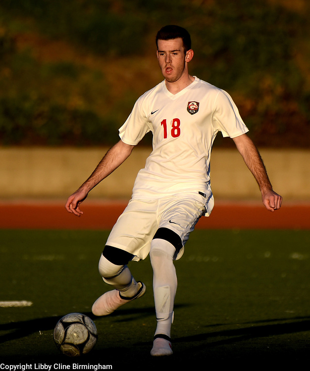 Glendora's Nick Bryant prepares to kick the ball in the first half of a first round CIF soccer prep soccer match against Colony at Citrus College in Glendora, Calif., on Friday, Feb. 16, 2018. (Photo by Libby Cline Birmingham)