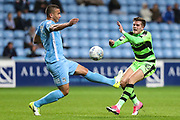 Coventry City's Rod McDonald(5) tackles Forest Green Rovers Charlie Cooper(15) during the EFL Sky Bet League 2 match between Coventry City and Forest Green Rovers at the Ricoh Arena, Coventry, England on 17 October 2017. Photo by Shane Healey.
