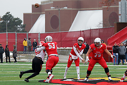 NORMAL, IL - November 17: Brady Davis during a college football game between the ISU (Illinois State University) Redbirds and the Youngstown State Penguins on November 17 2018 at Hancock Stadium in Normal, IL. (Photo by Alan Look)