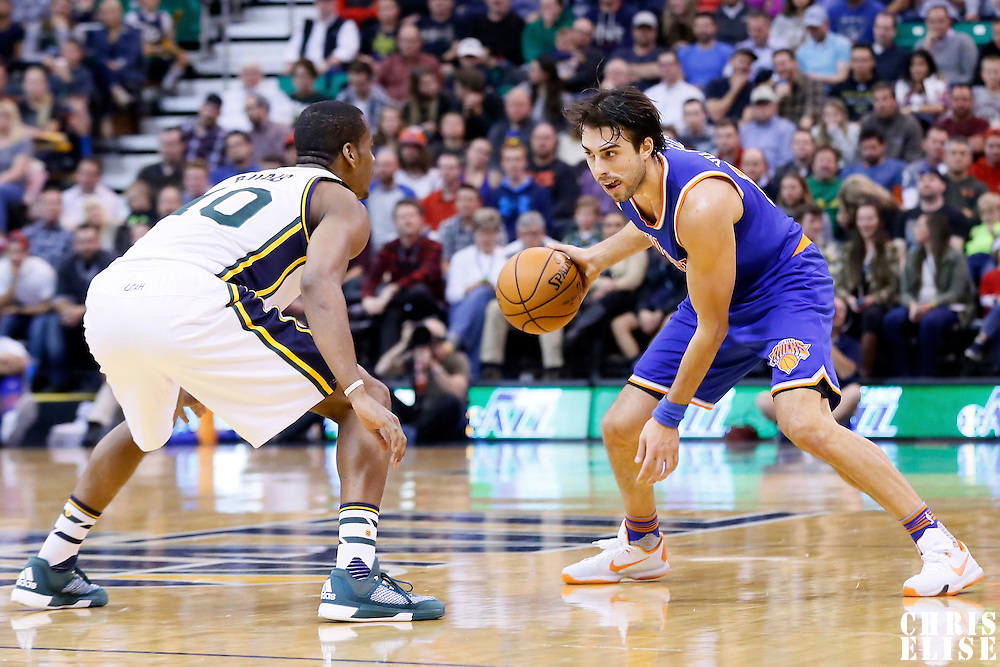 09 December 2015: Utah Jazz guard Alec Burks (10) defends on New York Knicks guard Sasha Vujacic (18) during the Utah Jazz 106-85 victory over the New York Knicks, at the Vivint Smart Home Arena, Salt Lake City, Utah, USA.