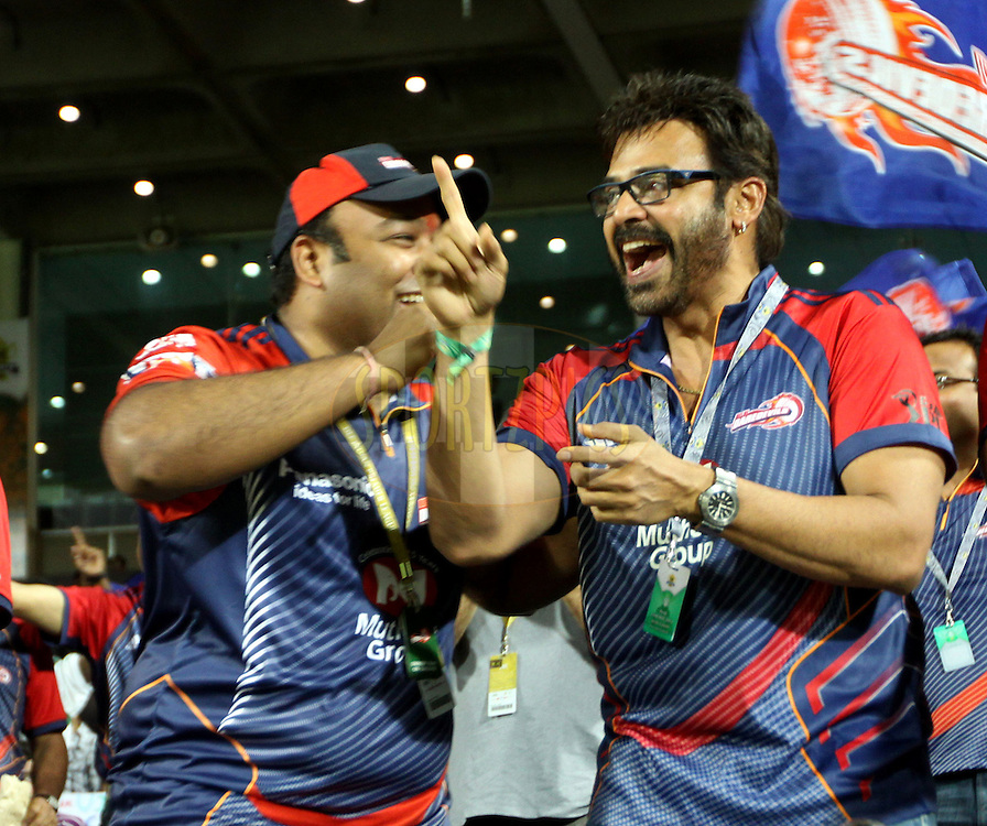 Co owner of Delhi Daredevils and actor Venkatesh during the first Qualifying match of the Indian Premier League ( IPL) 2012  between The Delhi Daredevils and The Kolkata Knight Riders held at the Subrata Roy Sahara Stadium, Pune on the 22nd May 2012..Photo by Sandeep Shetty/IPL/SPORTZPICS