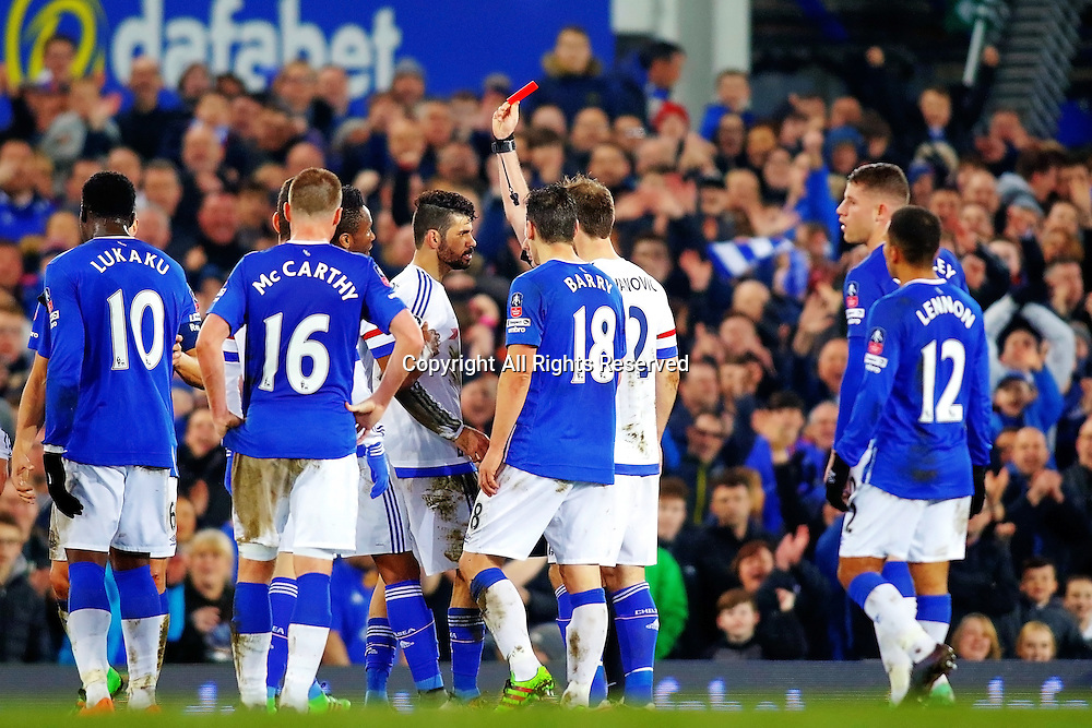 12.03.2016. Goodison Park, Liverpool, England. Emirates FA Cup 6th Round. Everton versus Chelsea. Diego Costa of Chelsea is shown the red card and sent off for a second yellow card and attack on Barry