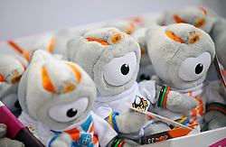 © under license to London News Pictures.  The London Toy Fair opened in Kensington Olympia today with the UK's largest single gathering of the worlds toy manufacturers showing their top merchandise for the year to come all under one roof. On display amongst the  huge ranges of children's playthings were toys of the 2012 London Olympic Mascots Wenlock and Mandeville (pictured) along side the new Team GB Mascot which will also be on sale during the London games..Photographer: Lee Durant.Date: 21/01/11