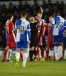 Welling United's Jake Gallagher is sent off for a horror challenge on Bristol Rovers' Lee Mansell which Welling United's Aristide Bassele takes exemption to   - Photo mandatory by-line: Joe Meredith/JMP - Mobile: 07966 386802 - 29/11/2014 - SPORT - Football - Bristol - Memorial Stadium - Bristol Rovers v Welling - Vanarama Conference