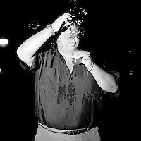 Man blowing bubbles, Merida, Mexico