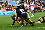 London Irish back row Albert Tuisue (8) scores a try during the Gallagher Premiership Rugby match between Wasps and London Irish at the Ricoh Arena, Coventry, England on 20 October 2019.