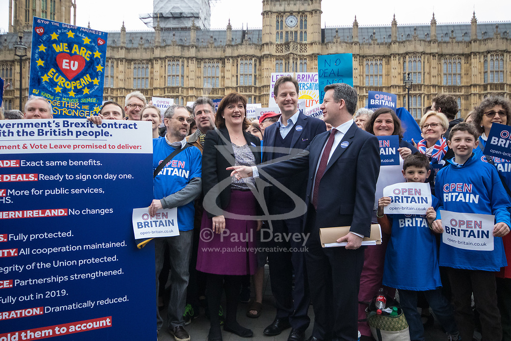 London, March 29th 2017. Open Britain protesters demonstrate outside Parliament as Prime Minister Theresa May triggers Article 50, beginning formal divorce proceedings as Britain leaves the European Union. The protesters demand that those in charge of the brexit negotiations are held to account:. PICTURED: PICTURED: Former Education Secretary Nicky Morgan, Former deputy Prime Minister and Labour MP Chris Lesley join the protesters for a photo opportunity.  ©Paul Davey<br /> FOR LICENCING CONTACT: Paul Davey +44 (0) 7966 016 296 paul@pauldaveycreative.co.uk