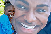 Dina Asher-Smith (Great Britain) with a cardboard cutout of herself after the Women's 200m, during the Muller Grand Prix at the Alexander Stadium, Birmingham, United Kingdom on 18 August 2019.