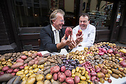 Repro Free: <br /> Lorcan Bourke of Bord Bia and P&aacute;draic &Oacute;g Gallagher of Gallagher's Boxty House are pictured as Bord Bia, in conjunction with the Irish Potato Federation and the Irish Farmer&rsquo;s Association, welcome the return of National Potato Day this Friday, 3rd October. Much-loved by Irish families for generations, National Potato Day celebrates a reliable favourite that not only tastes delicious and is incredibly versatile, but also provides a naturally healthy option for meal times.<br /> For exciting and inspiring potato recipes, a chance to enter some great competitions and a list of National Potato Day events visit www.potato.ie. Picture Andres Poveda