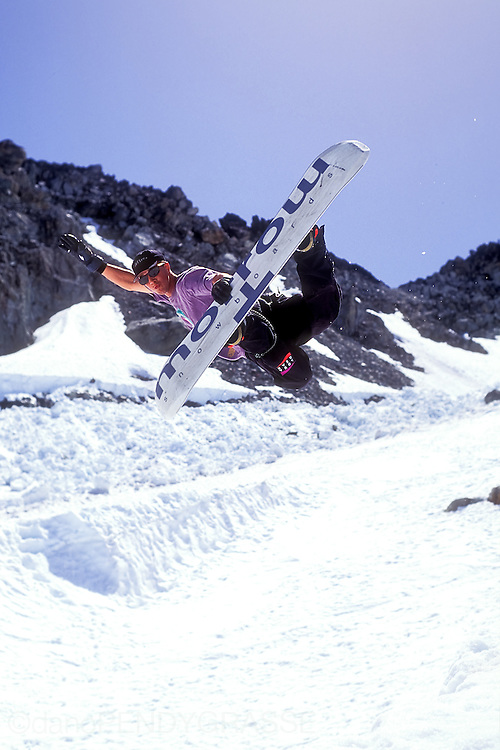 Noah Brandon shows off a picture perfect method air on the Blackcomb glacier in the summer on 1992.