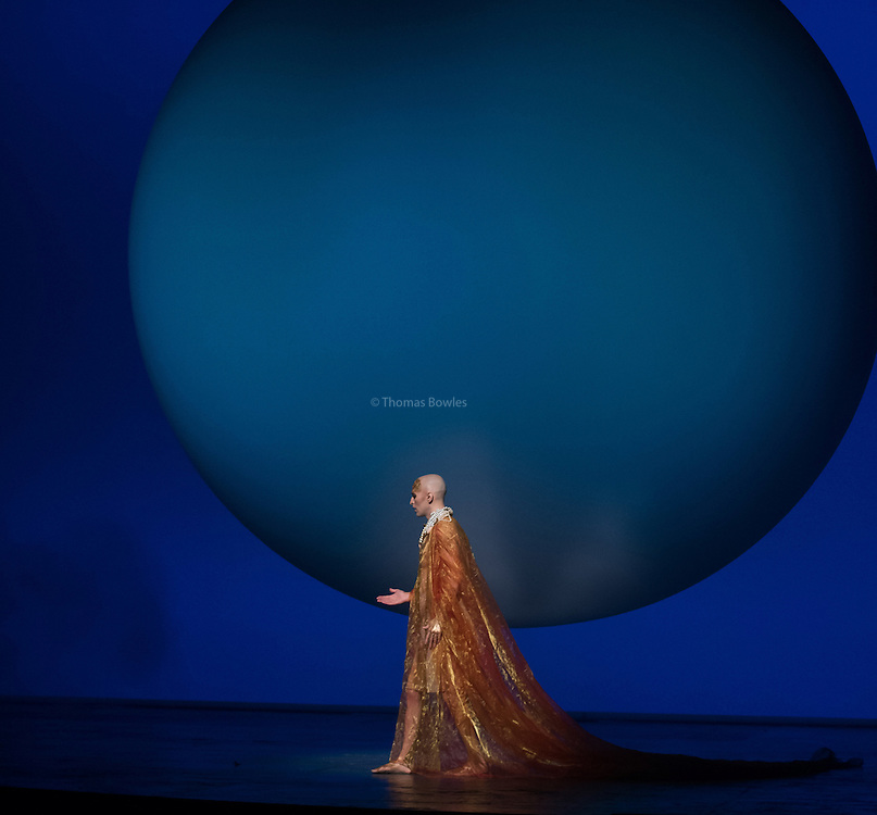 STRICT EMBARGO on images until 19.30 4th March 2016<br /> <br /> Anthony Roth Constanzo as Akhnaten, the Pharaoh of Egypt<br /> <br /> Akhnaten - Philip Glass performed by the English National Opera<br /> Conductor, Karen Kamensek<br /> Director, Phelim McDermott<br /> <br /> Opens 4th March 2016<br /> London Coliseum<br /> <br /> <br /> Philip McDermot Returns to the ENO to direct a once in a generation staging of Philip Glass's iconic opera.