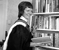 Rev Ruth Patterson, Larne, Co Antrim, N Ireland, the first woman to be ordained into the ministry of the Presbyterian Church in Ireland. January 1976. 197601030002a<br /> <br /> Copyright Image from Victor Patterson, 54 Dorchester Park, Belfast, UK, BT9 6RJ<br /> <br /> Tel: +44 28 9066 1296<br /> Mob: +44 7802 353836<br /> Voicemail +44 20 8816 7153<br /> Skype: victorpattersonbelfast<br /> Email: victorpatterson@me.com<br /> Email: victor@victorpatterson.com<br /> <br /> IMPORTANT: If you wish to use this image or any other of my images please go to www.victorpatterson.com and click on the Terms & Conditions. Then contact me by email or phone with the reference number(s) of the image(s) concerned.