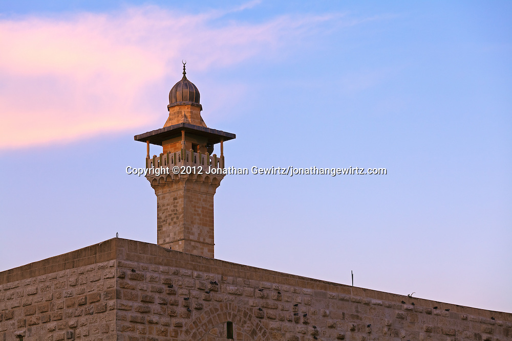 A minaret of the Al Aqsa mosque on the Temple Mount in Jerusalem. WATERMARKS WILL NOT APPEAR ON PRINTS OR LICENSED IMAGES.