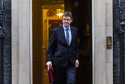 London - Secretary of State for Business, Energy and Industrial Strategy Greg Clark leaves the weekly meeting of the UK cabinet at Downing Street. January 23 2018.