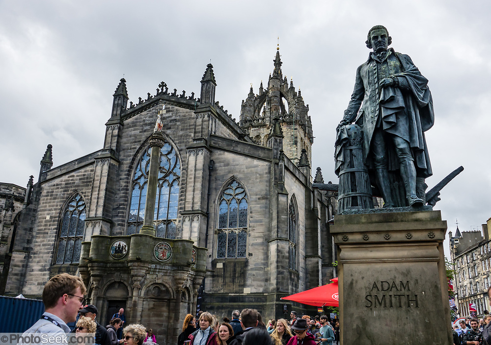 Adam Smith (1723-1790), Scottish free-market economist, philosopher and author. Edinburgh is the capital city of Scotland, in Lothian on the Firth of Forth's southern shore, Scotland, United Kingdom, Europe.