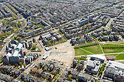 Nederland, Noord-Holland, Amsterdam, 09-04-2014; Museumplein met links Rijksmuseum. Onder in beeld Paulus Potterstaat met Van Gogh Museum en Stedelijk Museum (rechts).<br /> View on the Museumplein and surroundings, from right bottom (CW) the Stedelijk Museum, Van Goghmuseum and the rear side of the Rijksmuseum.<br /> luchtfoto (toeslag op standard tarieven);<br /> aerial photo (additional fee required);<br /> copyright foto/photo Siebe Swart