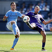 NEW YORK, NEW YORK - May 29:  RJ Allen #27 of New York City FC and Adrian Winter #32 of Orlando City FC challenge for the ball during the New York City FC Vs Orlando City, MSL regular season football match at Yankee Stadium, The Bronx, May 29, 2016 in New York City. (Photo by Tim Clayton/Corbis via Getty Images)