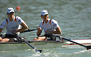 Lucerne, SWITZERLAND,  A Finals, GER 1 W2X, Bow Peggy WALESKA and Christiane HUTH, at the 2007 FISA World Cup, Lucerne, on the Rotsee Lake, 15/07/2007  [Mandatory Credit Peter Spurrier/ Intersport Images] , Rowing Course, Lake Rottsee, Lucerne, SWITZERLAND.