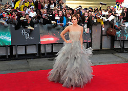 © licensed to London News Pictures. LONDON UK  07/07/11.Emma Watson attends the  Harry Potter World Premiere in Trafalgar square London. Please see special instructions for usage rates. Photo credit should read ALAN ROXBOROUGH/LNP