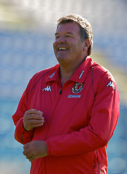 Serravalle, San Marino - Tuesday, October 16, 2007: Wales' manager John Toshack watches over training at the Serravalle Stadium ahead of the Group D UEFA Euro 2008 Qualifying match against San Marino. (Photo by David Rawcliffe/Propaganda)