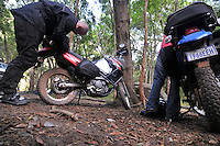 Packing the gear for motorcycle trip in Samaipata, Santa Cruz, Bolivia