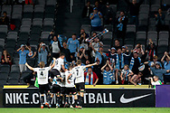 SYDNEY, AUSTRALIA - NOVEMBER 22: Melbourne City celebrate in front of their fans during the round 7 A-League soccer match between Western Sydney Wanderers FC and Melbourne City FC on November 22, 2019 at Bankwest Stadium in Sydney, Australia. (Photo by Speed Media/Icon Sportswire)