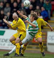 Clyde v Celtic, ScottishCup  quarter final, Broadwood Stadium, Cumbernauld. Sunday 27/02/2005<br /> Darren Sheridan loses out to Stan Petrov