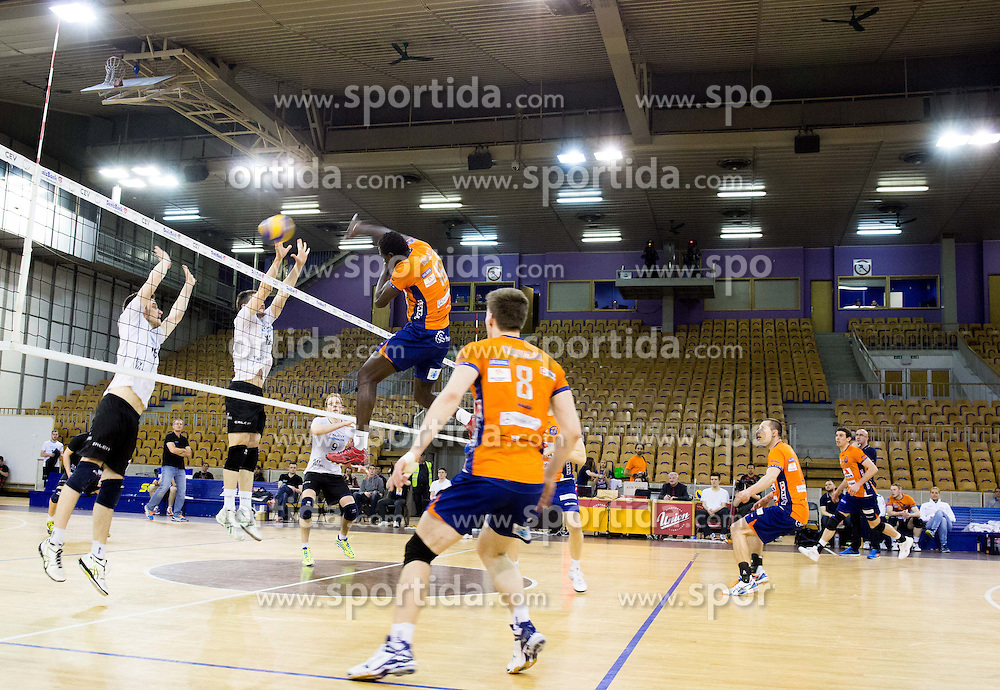 Sem Dolegombai of ACH in action during volleyball match between ACH Volley and Calcit Volleyball in Round #1 of Finals of 1. DOL Slovenian Championship 2014/15, on April 12, 2015 in Arena Tivoli, Ljubljana, Slovenia. Photo by Vid Ponikvar / Sportida
