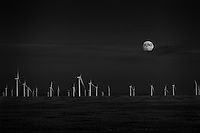 Moon Rising over Windmills