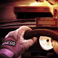 Behind the wheel Sports car racing illustration
