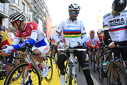 Dutch National Champion Mathieu Van Der Poel (NED) Corendon-Circus, World Champion Alejandro Valverde (ESP) Movistar Team and Slovakian National Champion Peter Sagan (SVK) Bora-Hansgrohe line up for the start of the 2019 Ronde Van Vlaanderen 270km from Antwerp to Oudenaarde, Belgium. 7th April 2019.<br /> Picture: Eoin Clarke | Cyclefile<br /> <br /> All photos usage must carry mandatory copyright credit (© Cyclefile | Eoin Clarke)