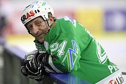 Tomaz Vnuk of Olimpija at ice hockey match ZM Olimpija vs  Acroni Jesencie in third round of final of Slovenian National Championship,  on April 8, 2008 in Arena Tivoli, Ljubljana, Slovenia. Acroni Jesenice won the game 1:2 and lead the series 3:0.  (Photo by Vid Ponikvar / Sportal Images)
