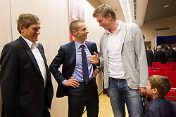 Aleksander Ceferin, president of NZS  and basketball player Vladimer Boisa with his son at Final Round Draw of 11th UEFA European Under-17 Championship 2011/12, on April 4, 2012, in Ljubljana, Slovenia. (Photo by Vid Ponikvar / Sportida.com)