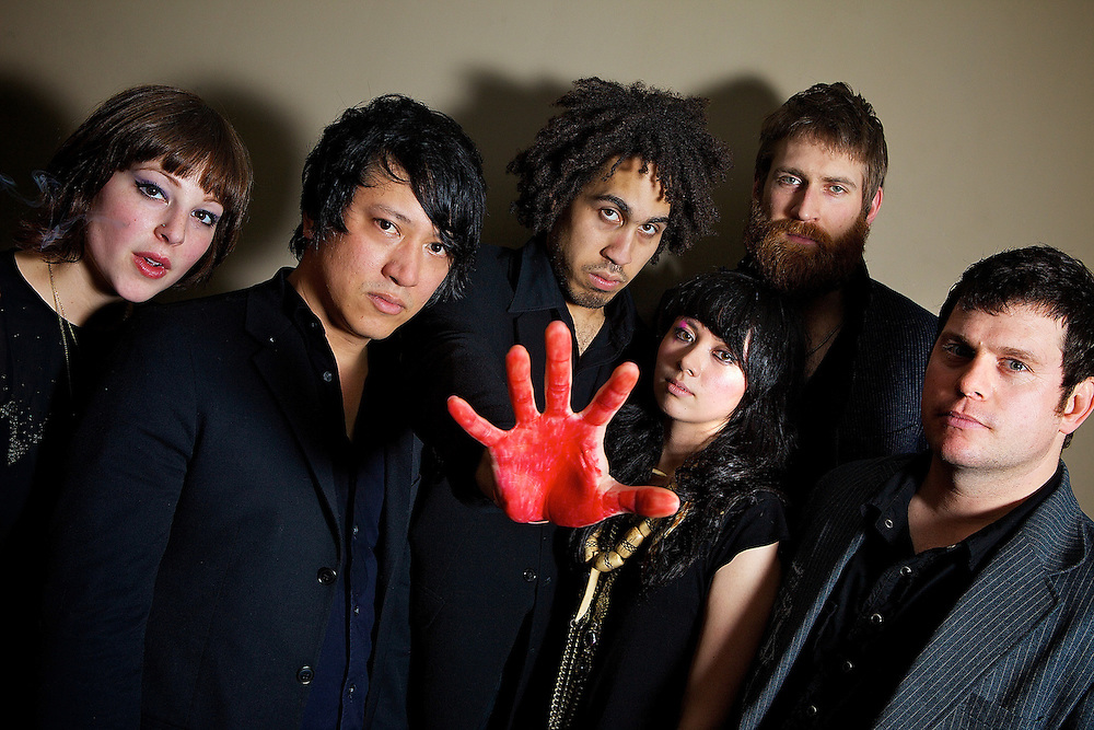 NEW YORK - FEBRUARY 27:  (L to R) Giselle Reiber, Miyuki Furtado,  Autry Fulbright, Destiny Montague, Eric Rodgers and Jason Reece of Midnight Masses pose for a portrait backstage at the Music Hall of Williamsburg on February 27, 2009 in New York City.  (Photo by Roger Kisby)