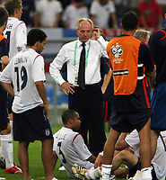 Photo: Chris Ratcliffe.<br /> England v Portugal. Quarter Finals, FIFA World Cup 2006. 01/07/2006.<br /> Sven Goran Eriksson of England tries to console his team.