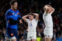 Fly-Half George Ford and replacement Billy Twelvetrees look dejected after England win the match but come up just 6 points short of winning the Six Nations Championship - Photo mandatory by-line: Rogan Thomson/JMP - 07966 386802 - 21/03/2015 - SPORT - RUGBY UNION - London, England - Twickenham Stadium - England v France - 2015 RBS Six Nations Championship.