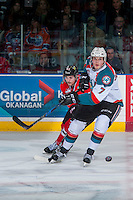 KELOWNA, CANADA - JANUARY 28: Skyler McKenzie #43 of the Portland Winterhawks back checks Lucas Johansen #7 of the Kelowna Rockets on January 28, 2017 at Prospera Place in Kelowna, British Columbia, Canada.  (Photo by Marissa Baecker/Shoot the Breeze)  *** Local Caption ***