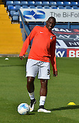 Coventry City Striker, Marc-Antoine Fortune during warm up before the Sky Bet League 1 match between Bury and Coventry City at Gigg Lane, Bury, England on 26 September 2015. Photo by Mark Pollitt.