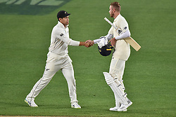March 26, 2018 - Auckland, Auckland, New Zealand - Ross Taylor of Blackcaps shanks hands with Stuart Broad of England after his team wining the match during Day Five of the First Test match between New Zealand and England at Eden Park in Auckland on Mar 26, 2018. Blackcaps win by an inners and 48 runs (Credit Image: © Shirley Kwok/Pacific Press via ZUMA Wire)