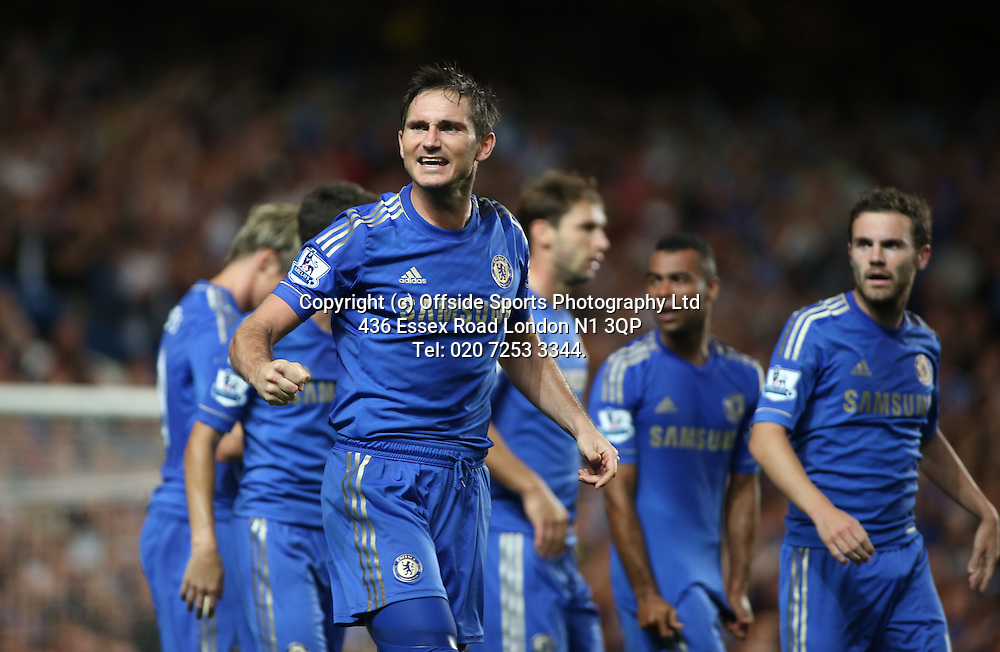 22 August 2012 Premier League football. Chelsea v Reading.<br /> Frank Lampard celebrates.<br /> Photo: Mark Leech.