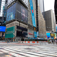 Businesses in Times Square remain closed in preparation for another expected night of protests due to the killing of George Floyd by a Minnesota Police Officer on Tuesday, June 2, 2020 in Manhattan, New York.  A citywide 8 p.m. curfew was ordered by NY Mayor Bill de Blasio amid the Floyd protests. (Alex Menendez via AP)