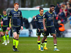 Ellis Harrison, Rory Gaffney and Kyle Bennett of Bristol Rovers cut dejected figures - Mandatory by-line: Robbie Stephenson/JMP - 02/04/2018 - FOOTBALL - Highbury Stadium - Fleetwood, England - Fleetwood Town v Bristol Rovers - Sky Bet League One