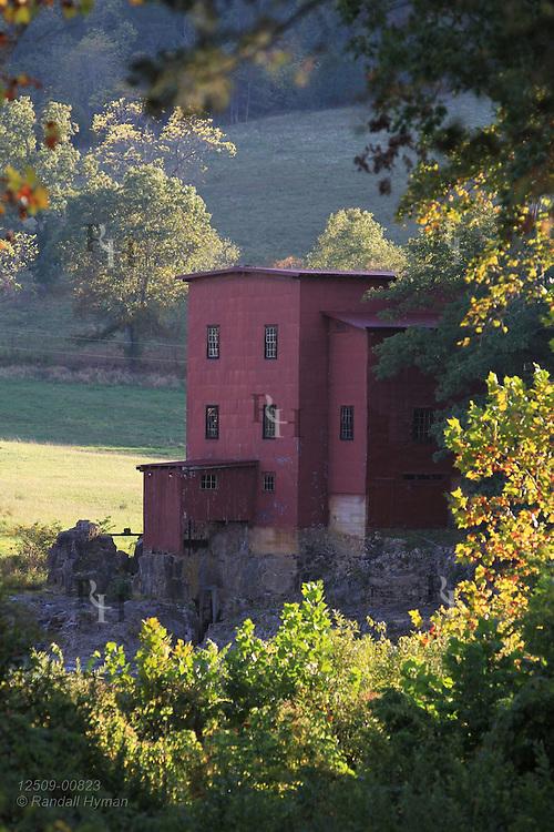 Grist mill, completed 1908, at Dillard Mill State Historic Site near Viburnum, Missouri.