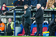 Steve Bruce, Manager of Newcastle United FC attempting to calm down the players during the Premier League match between Crystal Palace and Newcastle United at Selhurst Park, London, England on 22 February 2020.