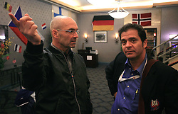 Coach Mats Waltin and Marko Ponikvar at Slovenian National team packing and going from Citadel Hotel to the Halifax airport, when they finished with games at IIHF WC 2008 in Halifax, on May 11, 2008, Canada. (Photo by Vid Ponikvar / Sportal Images)
