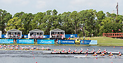 Sarasota. Florida USA. Women's eight final. Approaching the line Gold Medalist ROM W8+, Silver medalist, CAN W8+ Bronze Medalist, NZL W8+. Sunday Final's Day at the  2017 World Rowing Championships, Nathan Benderson Park<br /> <br /> Sunday  01.10.17   <br /> <br /> [Mandatory Credit. Peter SPURRIER/Intersport Images].<br /> <br /> <br /> NIKON CORPORATION -  NIKON D4S  lens  VR 500mm f/4G IF-ED mm. 200 ISO 1/640/sec. f 8